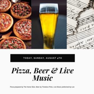 Join us today for hot pizza, cold beer and live music